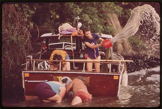 Small Pleasure Craft Goes Aground On Banks Of Ohio River, June 1972