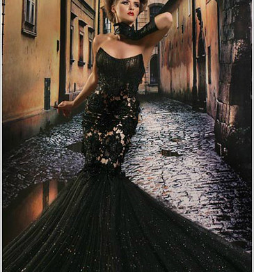 Luxurious Sexy Black Mermaid Strapless Evening Dress