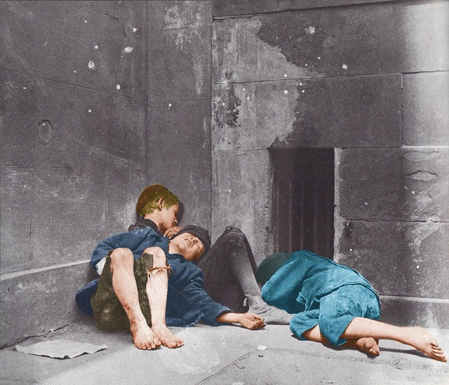 Street Arabs in their Sleeping Quarters (Church Corner).  New York, NY, USA, c.1889. (Colorized)