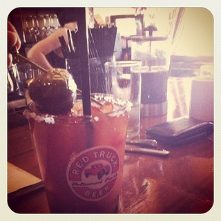A pickled brussel sprout in my Bloody Mary. Pretty awesome actually.