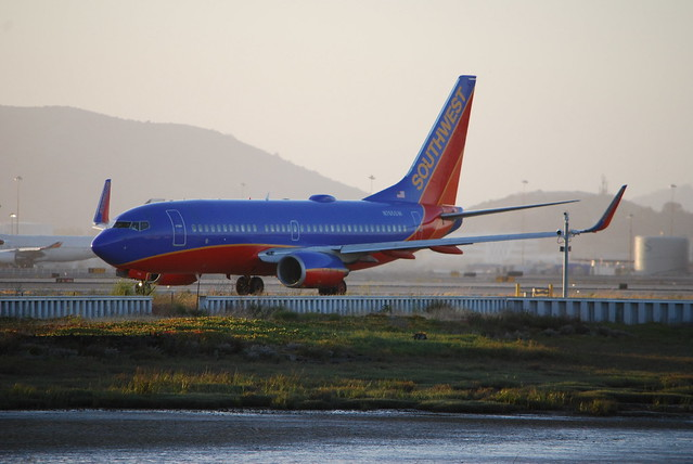 Boeing 737-700, Southwest Airlines, waiting to take off. SFO