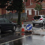 Day 4 of Burst water pipe on Tunstall High Street by LIDL