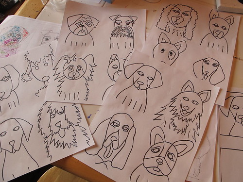 A whole bunch of sample dogs I drew.