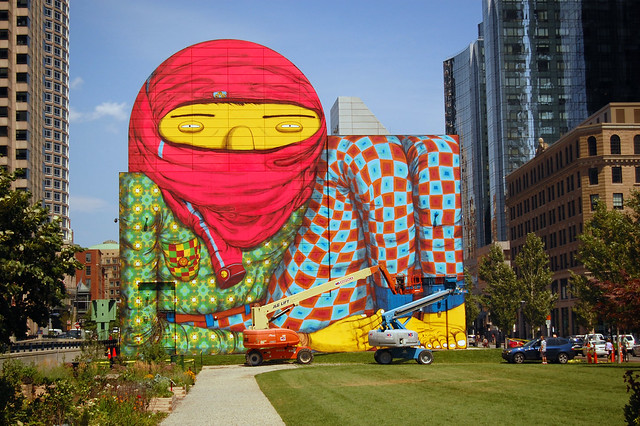 Os gemeos the giant 6 dewey square at the rose kennedy for Boston dewey square mural