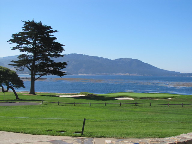 View from The Bench of the 18th hole at Pebble Beach Golf Links