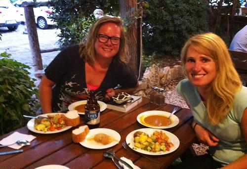 Enjoying delicious Turkish food with Kira at Beyram's