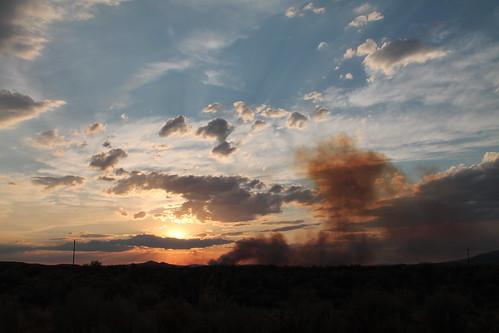 sunset sun weather landscape fire photography smoke horizon nevada crepuscularrays wildfire weatherphotography nevadaweather nevadaphotography