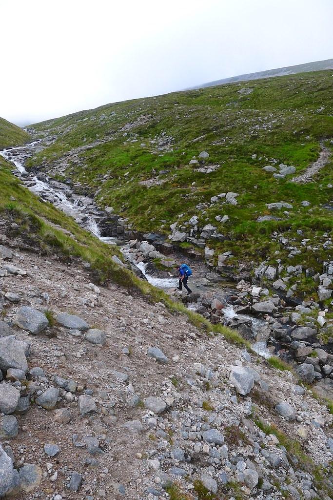 Crossing the Allt Clais an t-Sabhail