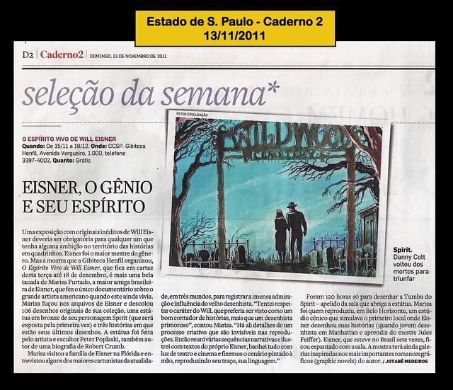 """""""Eisner, o gênio e seu espírito"""" - Estado de S. Paulo - 13/11/2011"""