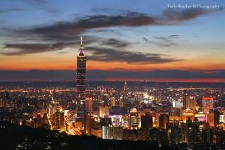 Taipei 101 Skyscraper at Sunset, Jiuwu Peak, Taipei City │ August 19, 2012