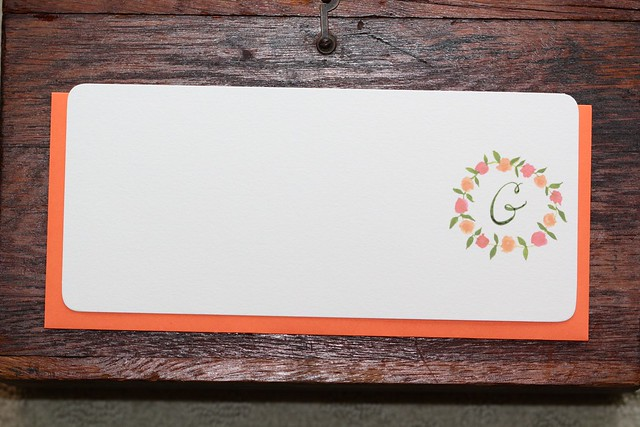 Monogram Floral Stationery