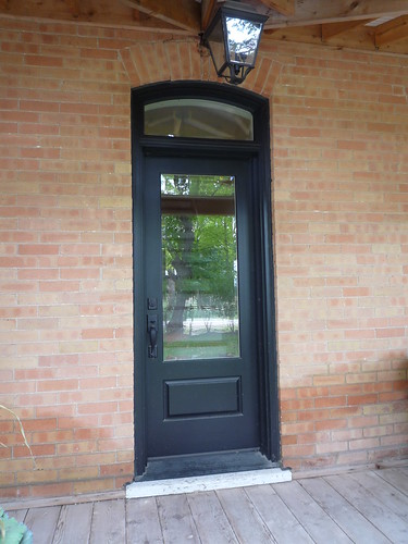 wood farmhouse door with transom