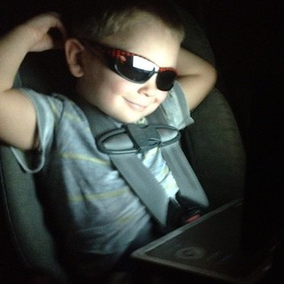 He's too cool for school and he doesn't even know it! [well sometimes he does ] #threeyearsold #stud #sunglassesatnight