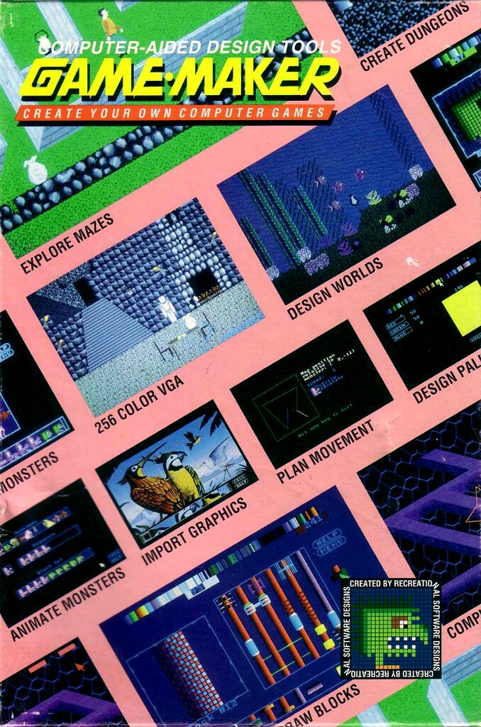 The cover art to Recreational Software Designs' Game-Maker