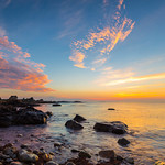 12. August 2016 - 5:46 - Big smile in morning. Starting the day like you dream about. A Lee hard edge 0.9 ND was used on the sky. Bass Rocks, Gloucester, MA.