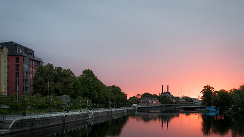 beautiful bridge city colors dawn light river sky skyline sunrise