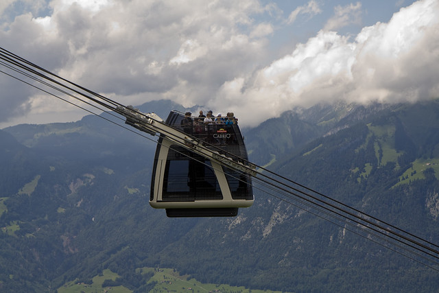 cable car side on view showing gradient