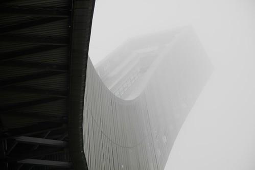 Holmenkollen ski jump in fog