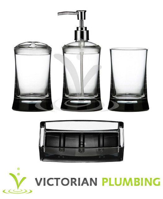 4 piece clear acrylic bathroom accessories set flickr for Bathroom accessories acrylic