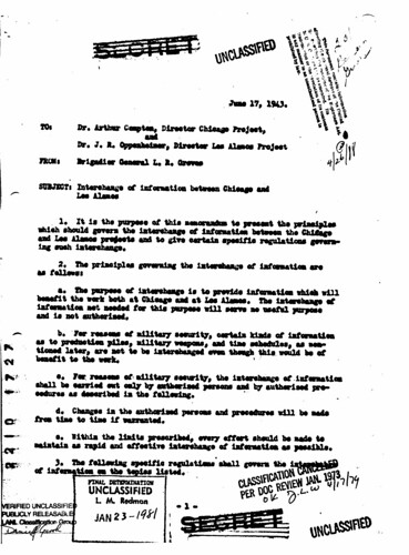 Interchange of Information Between Chicago and Los Alamos