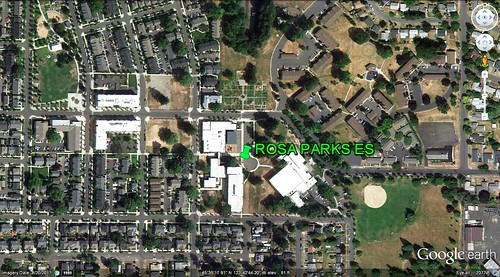 Rosa Parks ES anchors its neighborhood (via Google Earth)