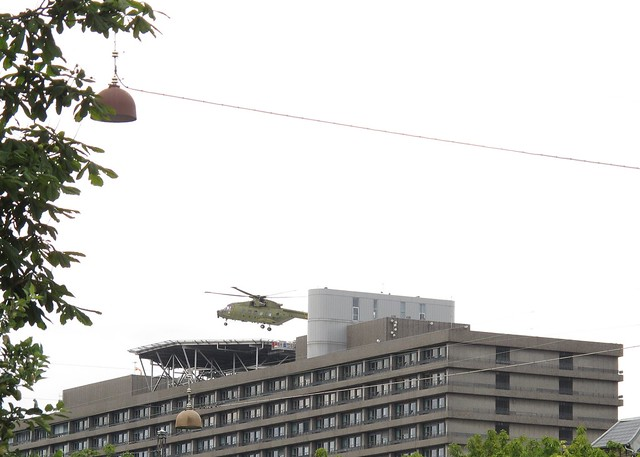 Helicopter landing on the helipad at Rigshospitalet in Copenhagen.