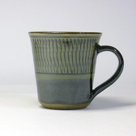 黒木富雄窯 マグカップ/うす青トビ掛け分け