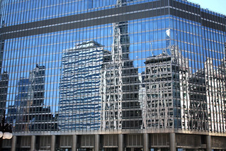 Downtown Chicago buildings and reflections
