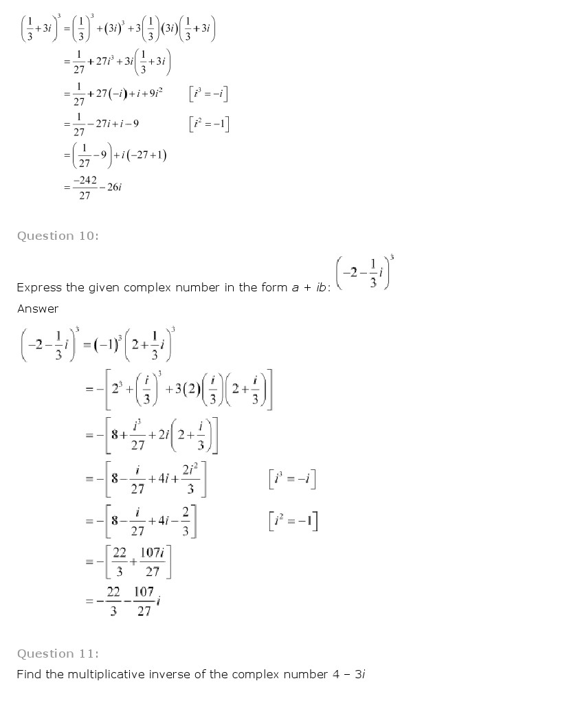 NCERT Solutions for Class 11th Maths Chapter 5 – plex Numbers