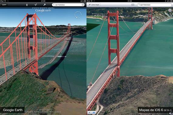 Comparativa Mapas 3D Google Earth y Mapas de Apple