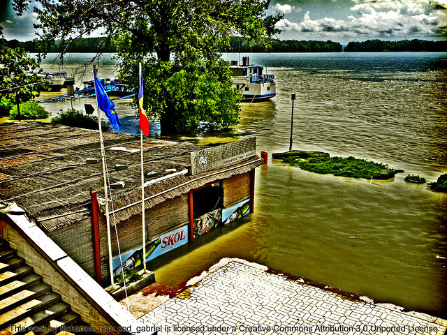Flooded Danube river waterside in Galati, 2010
