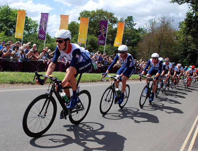 Team GB on the Box Hill climb during the Olympic road race