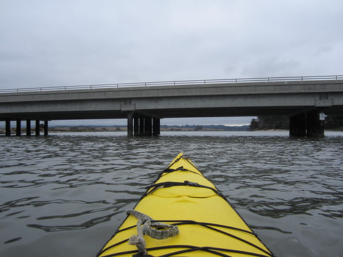 Kayaking under Highway One in Moss Landing, CA