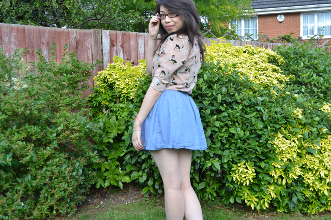 daisybutter - UK Style and Fashion Blog: what i wore, ootd, wiwt, lookbook, SS12, ever ours, deer print shirt, chambray skirt
