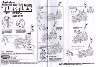 Nickelodeon  TEENAGE MUTANT NINJA TURTLES :: DRAGON CHOPPER / INSTRUCTIONS (( 2012 ))