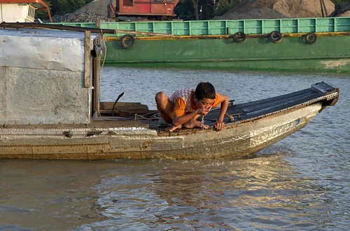 Drinking water from the Mekong river