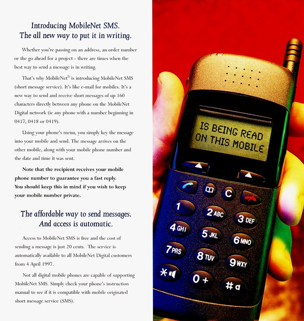 Telstra brochure explaining text messages: pages 2-3