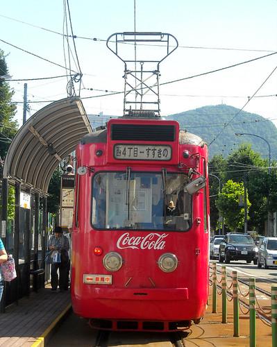 CocaCola tram in Sapporo, Hokkaido, Japan by Seb in Japan