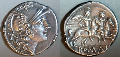 RRC 053/2 Anonymous Roma Dioscuri Denarius, peaked visor, larger head and horses, Rome 212-206BC