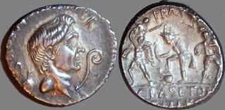 511/3a MAG.PIVS IMP.ITER Sextus Pompeius Denarius. Pompey, jug lituus, Neptune Catanaean brothers PRAEF CLAS ET ORAE MARIT EX S.C. Sicily 42-36BC.
