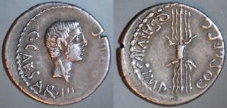 523/1b Salvidienus, Octavian Denarius, C.CAESAR Q.SALVIVS IMP COS DESG, Octavian, Thunderbolt. Italy 40BC.