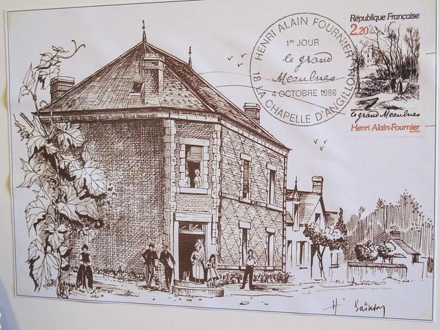 Enveloppe premier jour avec la demeure et le magasin de l'oncle Florentin d'Alain-Fournier à Nançay (18)