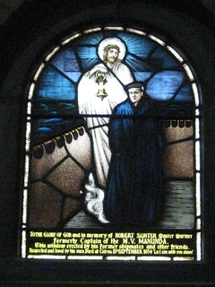 A Stained Glass Window in the St Peter the Mariner Chapel; the Mission to Seamen - Flinders Street, Melbourne