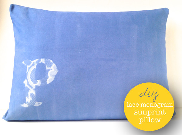 Lace Monogram Sunprint Pillow Tutorial by Fabric Paper Glue for Luri & Wilma