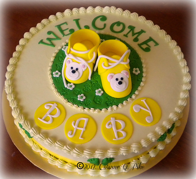 Green and Yellow Baby Shower Cake | Flickr - Photo Sharing!
