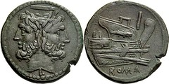 97/22a obv.mm. Luceria L As. Second phase. horizontal bar  Janus; I  Prow  L  ROMA. RR 17g52