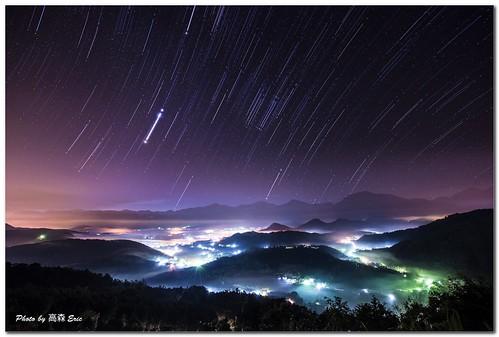 mountains fog sunrise stars taiwan 南投 orbital 台灣 天空 morningsky nantou 星星 日出 霧 早晨 山巒 五城 星軌 fivecities 魚池鄉 yuchitownship