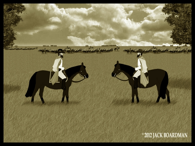 The old enemies looked over their combined cattle drive ©2012 Jack Boardman