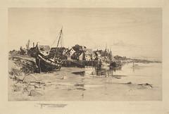 Fishing village at low tide