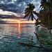 Sunset on Ranguana Caye in Belize by Tom Serru